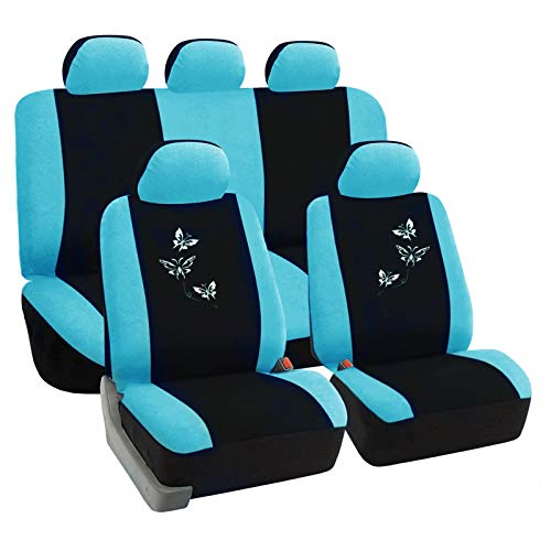 eSituro universal Auto Schonbezug Komplettset Sitzbezüge für Auto mit Butterfly schwarz/blau SCSC0053