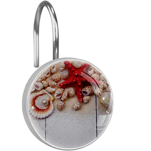 FURINKAZAN Shells Starfish Pearl Beach Shower Curtain Hooks Rings for Bathroom