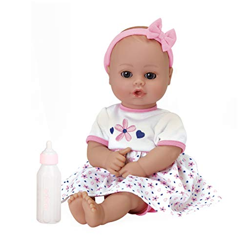 Adora Playtime Petal Pink 13 inch Baby Doll with floral dress, bow headband and Bottle