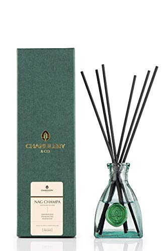 Chandlery & Co Natural Reed Diffuser -100% Essential Oil Diffuser, Aromatic Diffusers with sticks - Nag Champa - 200 ml hand blended