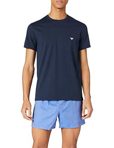 Emporio Armani Underwear Pyjamas Yarn Dyed Woven Set de Pajama, Multipuntos, M para Hombre