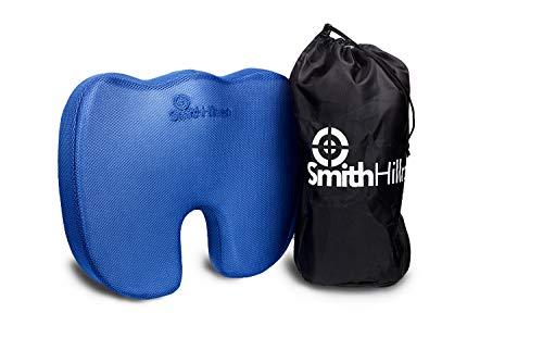 Smith Hillman® - Coussin d'assise en mousse à mémoire orthopédique - Pour soulager les douleurs au bas du dos, coccyx, sciatique, blessures du coccyxTaille idéale pour la plupart des sièges de maison, chaises de bureau et sièges de voiture/van.Favorise une meilleure posture naturellement.