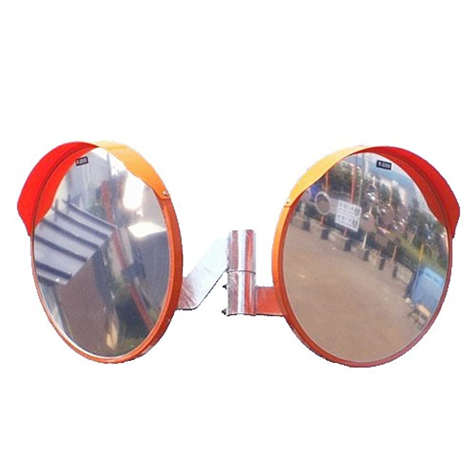 安息抵抗治療カーブミラー 丸型600φ ステンレス製ミラー2面鏡セット(道路反射鏡)HPLS-丸600W (オレンジ)