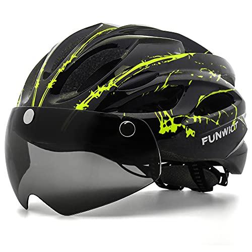 FUNWICT Casco Bici con Occhiali Magnetici LED Luce Casco da Mountain Bike Casco Bici da Strada per Adulto Uomo Donna Casco MTB Leggera 57-61 cm (BKInkYellow)