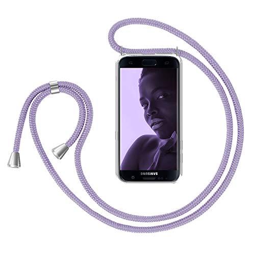 ZhinkArts Handykette kompatibel mit Samsung Galaxy S7 - Smartphone Necklace Hülle mit Band - Handyhülle Case mit Kette zum umhängen in Lila
