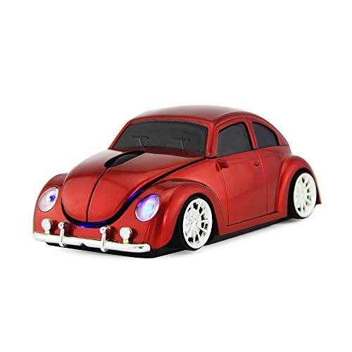 FASBEL VW Coccinelle Voiture Forme Souris sans Fil Souris Voiture Vintage 2.4GHz Souris D'ordinateur pour PC Ordinateur De Bureau De Bureau (Red)