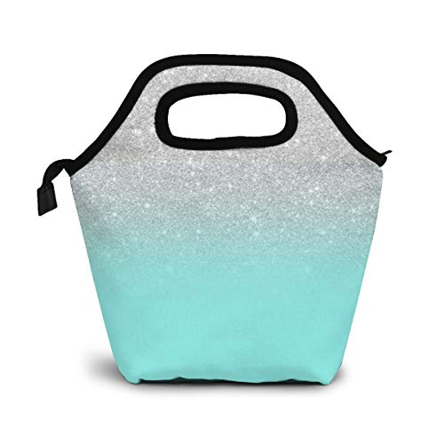 Blue Green Ocean Color Block with Artificial Silver Unisex Insulated Cooler Lunch Box/Lunch Bag/Lunch Tote/Picnic Bags