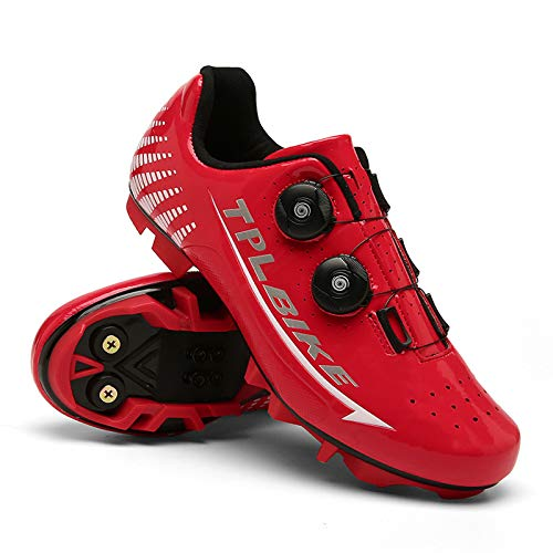 BHNACM Bicycle mountain shoes, cycling shoes, trendy shoes, outdoor sports, shoes, cycling equipment, lock shoes Red-UK-6.5