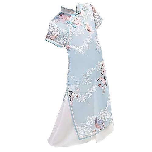 XYW Chicas Cheongsam - Falda otoño e Invierno Mejora Infantil Estilo Chino niña niña Grande niños Vestido Estilo Occidental (Color : Blue, Size : #140)