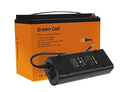 Green Cell® LiFePO4 Akku mit Ladegerät (42Ah 12.8V 538Wh) Lithium-Eisen-Phosphat Batterie 12V Photovoltaikanlage BMS für Reisemobil Wohnmobil Caravan Boat Boot Golf Trolley Solar Solarbatterie