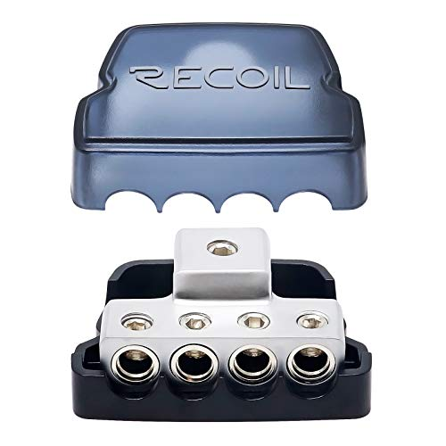 Recoil DB14 4 Way Power Distribution Block, 1 X 0/2/4 Gauge in / 4 X 4/8 Gauge Out Power Distribution Ground Distributor Block for Car Audio Amplifier Splitter (1PCS)