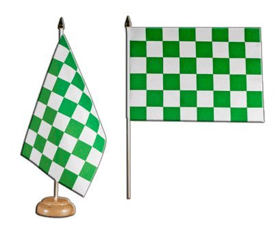 Bandera de mesa/mesa bandera cuadros verde de color blanco + Gratis Pegatinas, Flaggenfritze–Bandera
