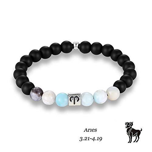 DLIAAN Armbanden 12 Zodiac Tekenen Amazoniet Kralen Met Ram Constellatie Horoscoop Steen Kralen Bedel Yoga Armband Voor Mannen Vrouwen Sieraden Gift