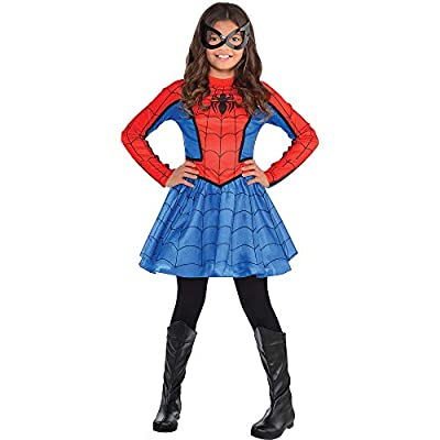 Costumes USA Red Spider-Girl Costume for Girls, Size Medium, Includes Red and Blue Dress With Black Mask