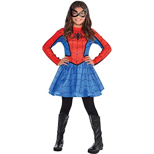 Costumes USA Red Spider-Girl Costume for Girls, Size Small, Includes Red and Blue Dress With Black Mask