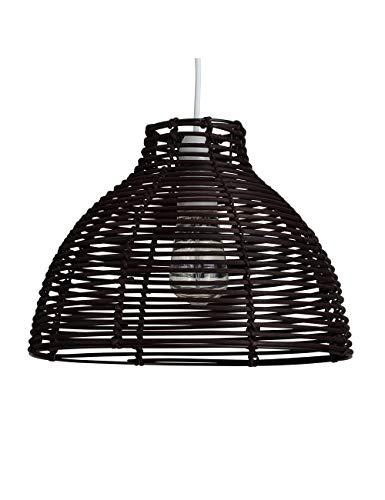 PuZi Pendelleuchte, Wicker Rattan Korb Stil Kronleuchter Deckenleuchte Schatten Innen Für Wohnzimmer Schlafzimmer (31x22,5 cm) E27 Lichtquelle (ohne Lichtquelle)