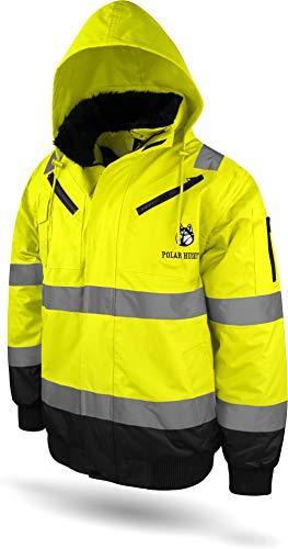 normani Outdoor- & Arbeitsbekleidung Piloten-Warnschutzjacke in Orange und Gelb - Regenajcke in Neonfarbe [S-4XL] Farbe Neongelb/Marine Größe L