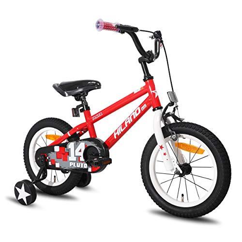 HILAND Pluto 14 Zoll Kinderfahrrad für Jungen Mädchen 3-5 Jahre mit Stützräder, Handbremse und Rücktritt Rot