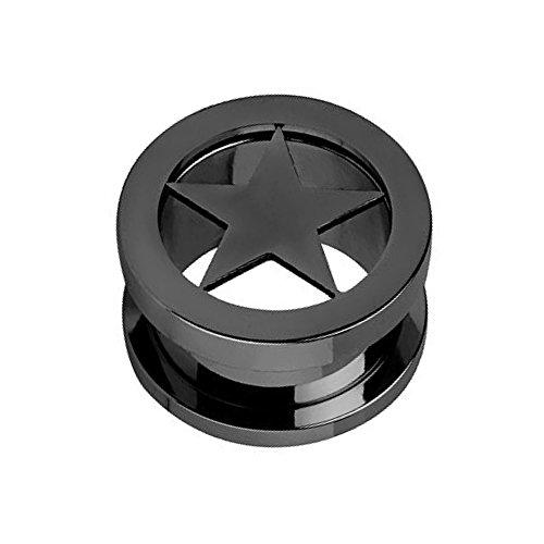 Piercingfaktor Flesh Tunnel Ohr Piercing Plug Ohrpiercing Schraub Ear Edelstahl Schraubverschluss mit Stern Star Inlay 8mm Schwarz