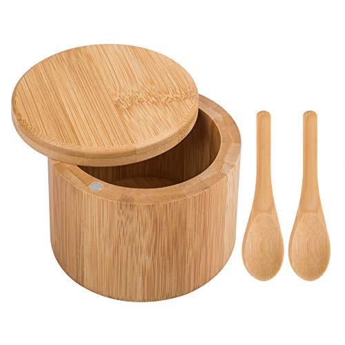 Caja de sal de bambú, recipiente redondo para especias DanziX con tapa giratoria con 2 cucharas extra pequeñas para almacenamiento de condimentos y artículos pequeños