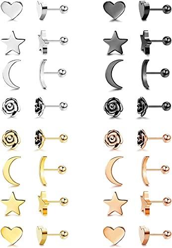 CASSIECA 16 Pares Acero Inoxidable Pendientes de Estrella Luna y Corazón Flor de las Mujeres Ninas Aretes Pendientes Piercing Cartilago Joyería de Moda