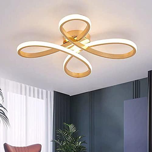 Lámpara de techo LED regulable de oro pequeño con nudo chino, diseño moderno, con mando a distancia, 40 W