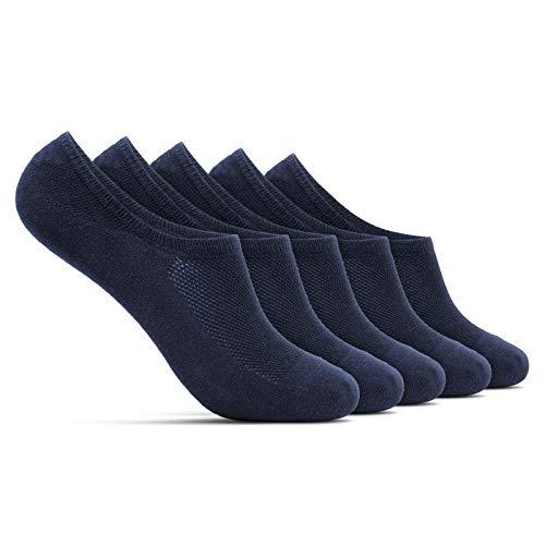 ROYALZ kurze Sneaker Socken 5 Paar für Damen und Herren bequem modern atmungsaktiv - unsichtbare Füßlinge mit Silikonpads, Größe Socken:39-42, Set:5 Paar/Dunkelblau