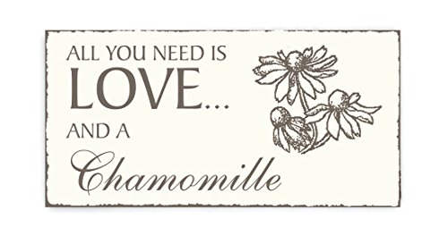 SCHILD Dekoschild « All you need is LOVE and a CHAMOMILLE » Kamille Vintage houten bord deurschild tuin tuin bloemen thee gezondheid