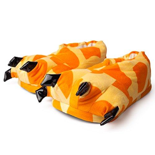 Katara 1773 Tatzen Hausschuhe - warme Pantoffeln Giraffe Rilakkuma Erwachsene Kinder - OneSize Onesie Karneval Kostüm, Orange/Beige, 29-36