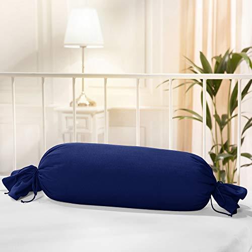 Erwin Müller Nackenrollenbezug Memmingen Interlock-Jersey dunkelblau Größe 40x15 cm Ø - formstabil, faltenfrei, anschmiegsam, mit Bindeband (weitere Farben)