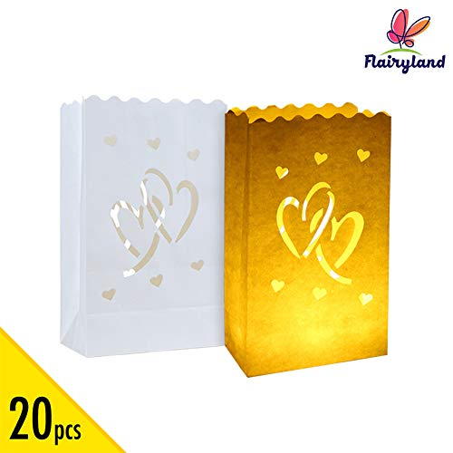 20pcs Luminary Candle Bags Special Lantern Luminary Bag with Duo Heart Durable and Reusable Fire-Retardant Cotton Material Superb for Wedding...