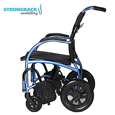Strongback Mobility Excursion Lightweight Foldable Wheelchair, Built-in Adjustable Lumbar Support, Promotes a Healthy Spine, 18 Inch Seat Width 2.0 Model