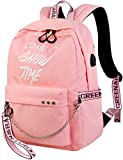 El-fmly Fashion School Rucksack with Luminous Letters Print Lightweight Travel Backpack with USB Charging Port for Teen Girls & Boys (Pink)