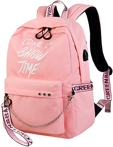 El-fmly Fashion School Rucksack with Luminous Letters Print Lightweight Travel Backpack with USB Charging Port for Teen Girls  Iowa