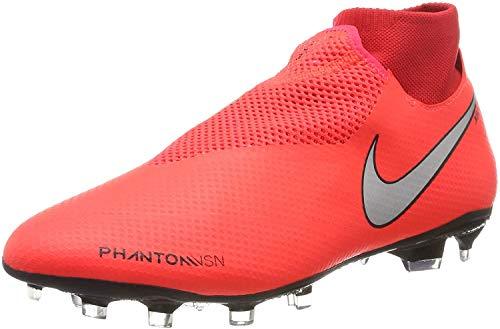 Nike Phantom VSN PRO DF FG, Scarpe da Calcio Uomo, Rosso (Bright Crimson/Metallic Silver 600), 44 EU