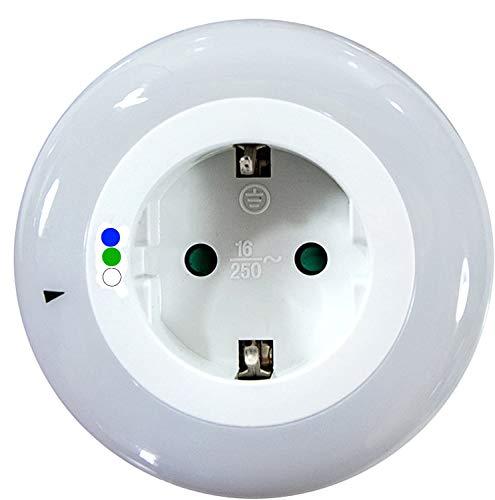 IG LED Nachtlicht, Steckdose mit Kindersicherung, 9 LEDs, Dämmerungssensor, Kabellos … (Blau-Grün-Weiß)