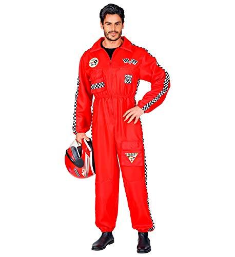 Widmann Rennfahrer Kostüm Overall Jumpsuit rot Anzug exklusiv (Herren Overall, Large)