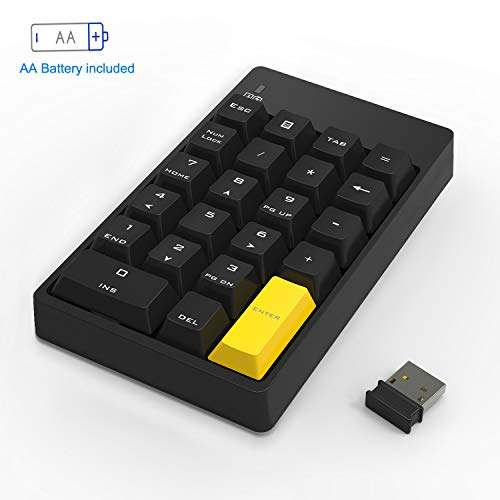 Numeric Keypad Mechanical, Wireless Number Pad 2.4GHz 22 Keys Mini USB Keypad for Laptop