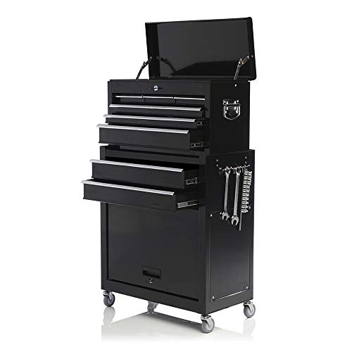 Removable Tool Chest Large Capacity Tool Box 4-Wheel Rolling Tool Cabinet Single Handle Lockable 2 in 1 Detachable Tool Storage Cabinet, Black