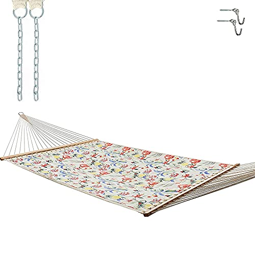 Castaway Living Large Tropical Print Quick Dry Hammock with FreeExtension Chains & Tree Hooks,...