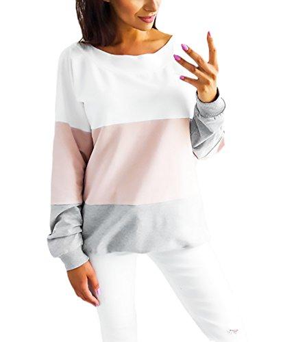 Damen Sweatshirt T-Shirt Kontrastfarbe Patchwork Tops Rückenfrei Strappy Lose Bluse Oberteile Herbst Langarm Elegant Junger Mädchen Mode Pullover Festlich Für Mollige
