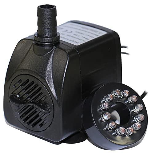 ZIEM Bomba de água submersível com 12 LED de luz 15W Ultra-silencioso IP68 à prova d'água para aquário Fonte de tanque