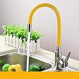 Rubinetto da cucina in ottone massiccio cromato, girevole a 360°, miscelatore per lavello da cucina, giallo
