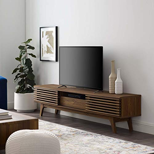 Modway Render 70' Mid-Century Modern Low Profile Entertainment TV Stand in Walnut