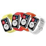 SenMore 4 Correas Compatibles con Huawei Watch Fit Pulsera de Silicona Pulsera Deportiva Suave y Transpirable Colorida Correa de Repuesto Accesorios de Reloj Inteligente para Huawei Watch FIT