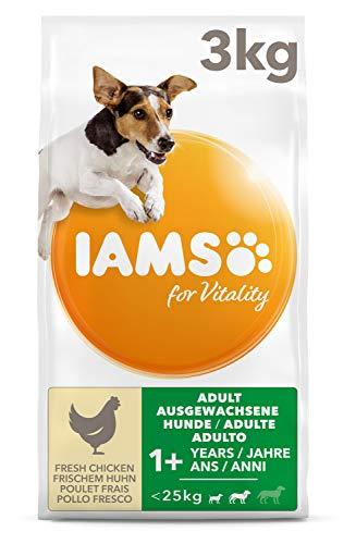 IAMS for Vitality Adult Hundefutter trocken für kleine & mittlere Rassen mit frischem Huhn, 3kg