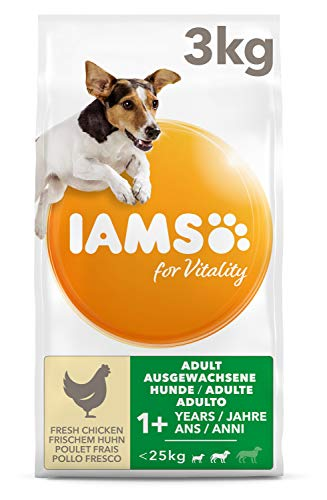 IAMS for Vitality Adult Hundefutter trocken für kleine & mittlere Rassen mit frischem Huhn 3 kg
