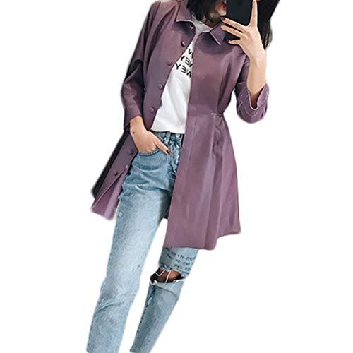 Chaqueta Cuero Mujer Otoño E Invierno Tendencia Mujer Sección Mode De Marca Larga Cuero Casual Salvaje Solapa Manga Larga Slim PU Cazadora