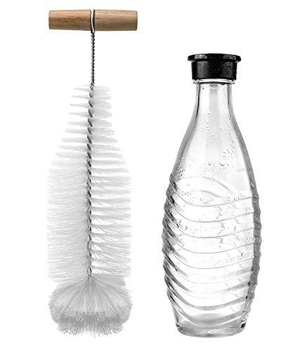Bluefire SodaStream Flaschenbürste, Premium Flaschenreiniger mit Wollkopf für Glasflaschen, Schonende & Kratzerfreie Reinigung Lang Griff Flaschenbürste für Glasflaschen Tassen Kessel
