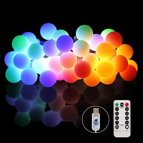 Pulchram bunt USB LED Kugeln Lichterkette 10M 100 LEDs, Außen/Innen Globe Lichterketten Wasserdicht Beleuchtung mit Fernbedienung 8 Modi für Garten, Party, Weihnachten,Deko usw.